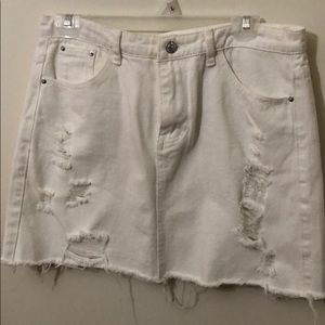 White distressed jean skirt size L